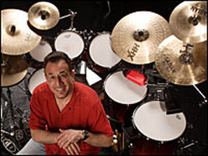 Bobby Sanabria surrounded by his drums