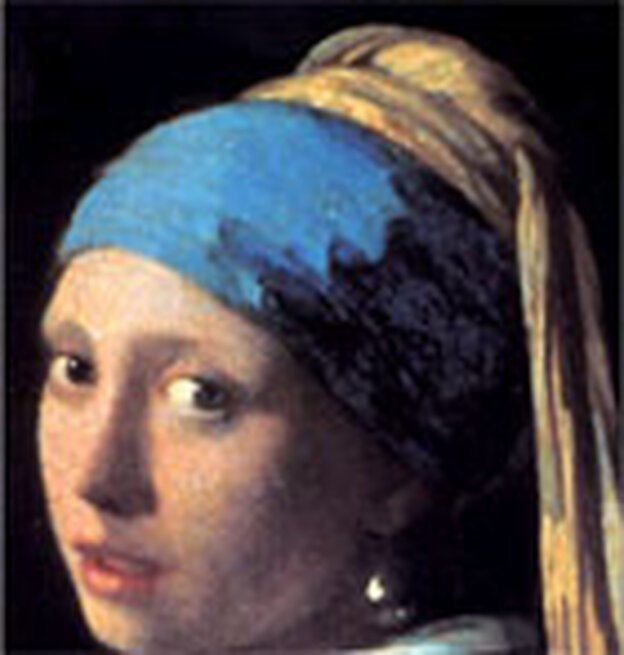 Detail from cover of Tracy Chevalier's book 'Girl With a Pearl Earring'