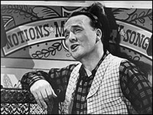 American humorist and author John Henry Faulk narrates the history of early America in a still from the TV program 'They Call It Folk Music,' circa 1955.  (Hulton Archive/Getty Images)