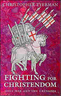 Detail from cover of Christopher Tyerman's book on the Crusades shows a mounted knight.