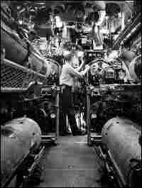 The torpedo room of Nautilus had six torpedo tubes and carried 24 weapons.