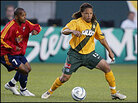 Cobi Jones in action on the soccer field with the L.A. Galaxy.