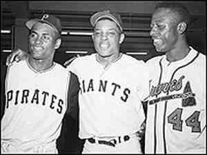 Roberto Clemente, Willie Mays and Henry Aaron at baseball's All-Star Game in 1961.