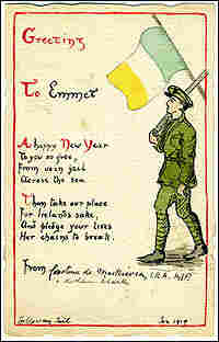 A hand-painted card with a soldier and a republican flag, circa 1919.