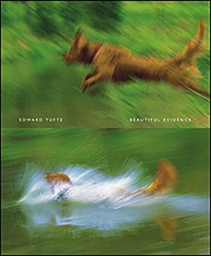 A dog dives into water on the cover of Tufte's latest book.