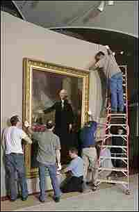 """George Washington by Gilbert Stuart, as installed in """"America's Presidents."""""""