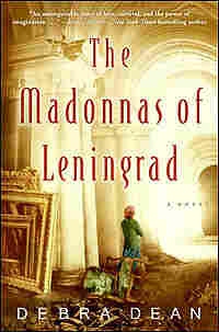 Cover of 'Madonnas of Leningrad' shows woman in babushka in large museum hall.