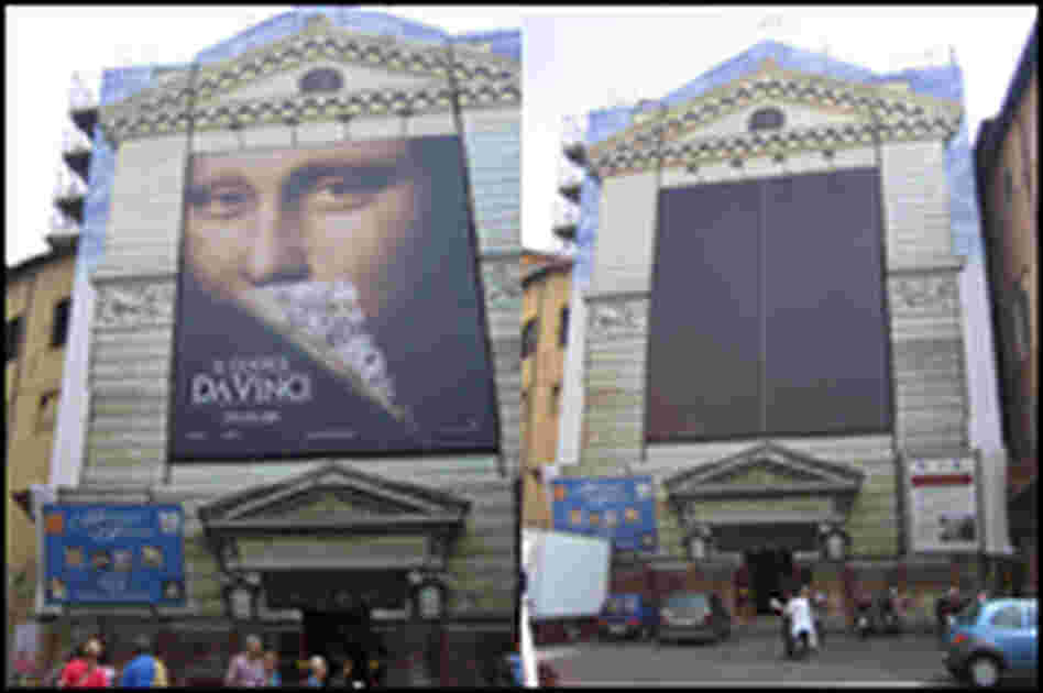 A 5-story-high ad for 'The Da Vinci Code' removed from the facade of a Rome church