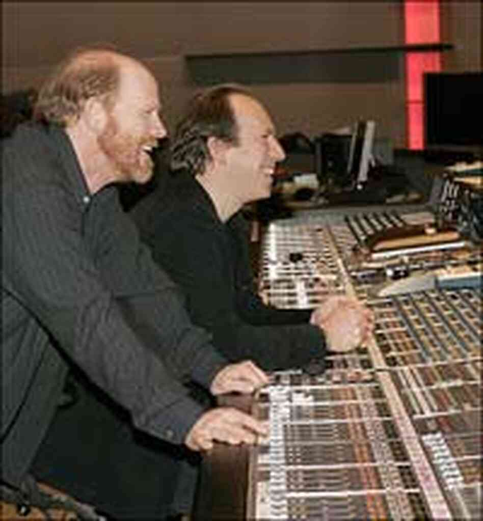 Ron Howard and Hans Zimmer in the studio.