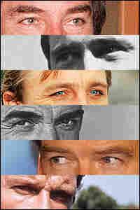 Six sets of eyes of James Bond stars.