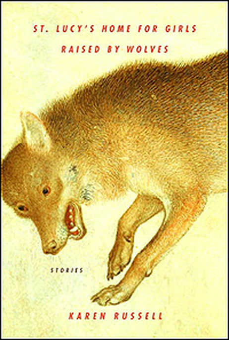 Cover of 'St. Lucy's' shows a painting of a wolf.