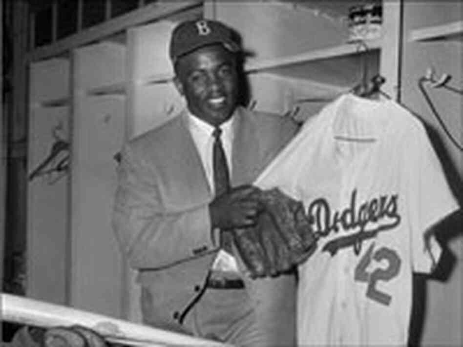 Jackie Robinson in his locker room
