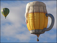 A beer stein hot air balloon from London.
