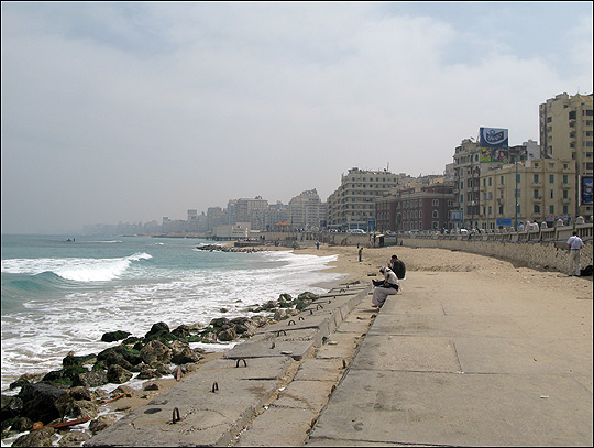 The barriers that line Alexandria, Egypt's Eastern Harbor are slowly breaking down.