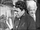 "Angelou delivers her poem ""On the Pulse of Morning"" on January 19, 1993."