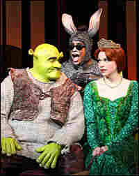 Shrek (Brian d'Arcy James), Fiona (Sutton Foster) and Donkey (Daniel Breaker)