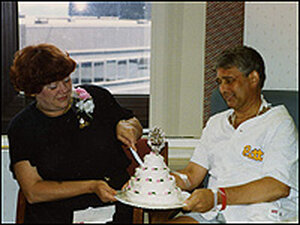 Paul Jewell and his wife, Joy, celebrating their anniversary.