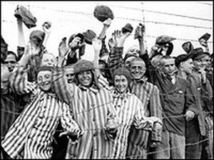 Prisoners waved to their liberators