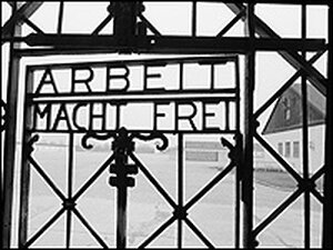 The gate at Dachau concentration camp