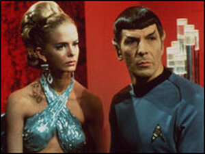 Leonard Nimoy playing Mr. Spock in Star Strek.