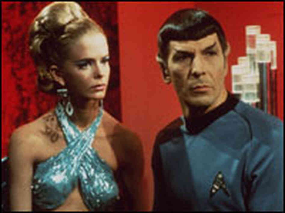 Leonard Nimoy playing Mr. Spock in Star Strek.