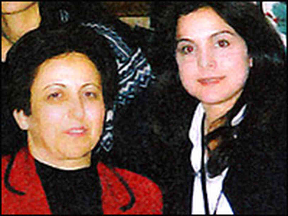 Human rights lawyer Shirin Ebadi (left) and NPR's Davar Iran Ardalan.