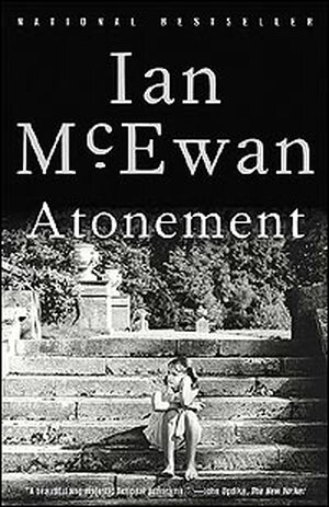 Cover of Ian McEwan's 'Atonement' shows a young girl sitting on some steps.