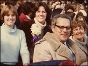 Christine Brennan and family at the Northwestern homecoming game.