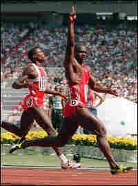 Johnson crossing the finish line