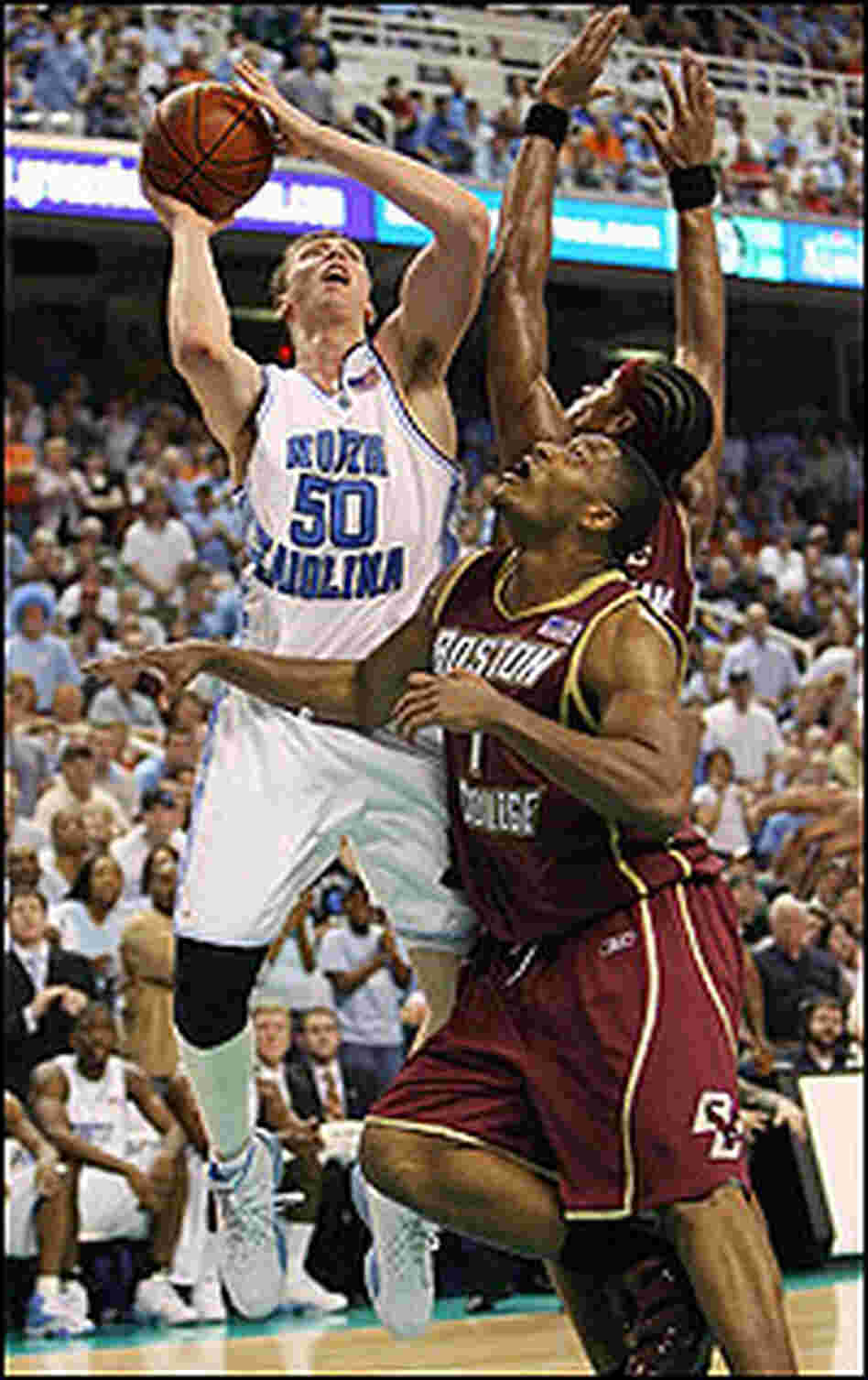 Tyler Hansbrough of North Carolina with the basketball.
