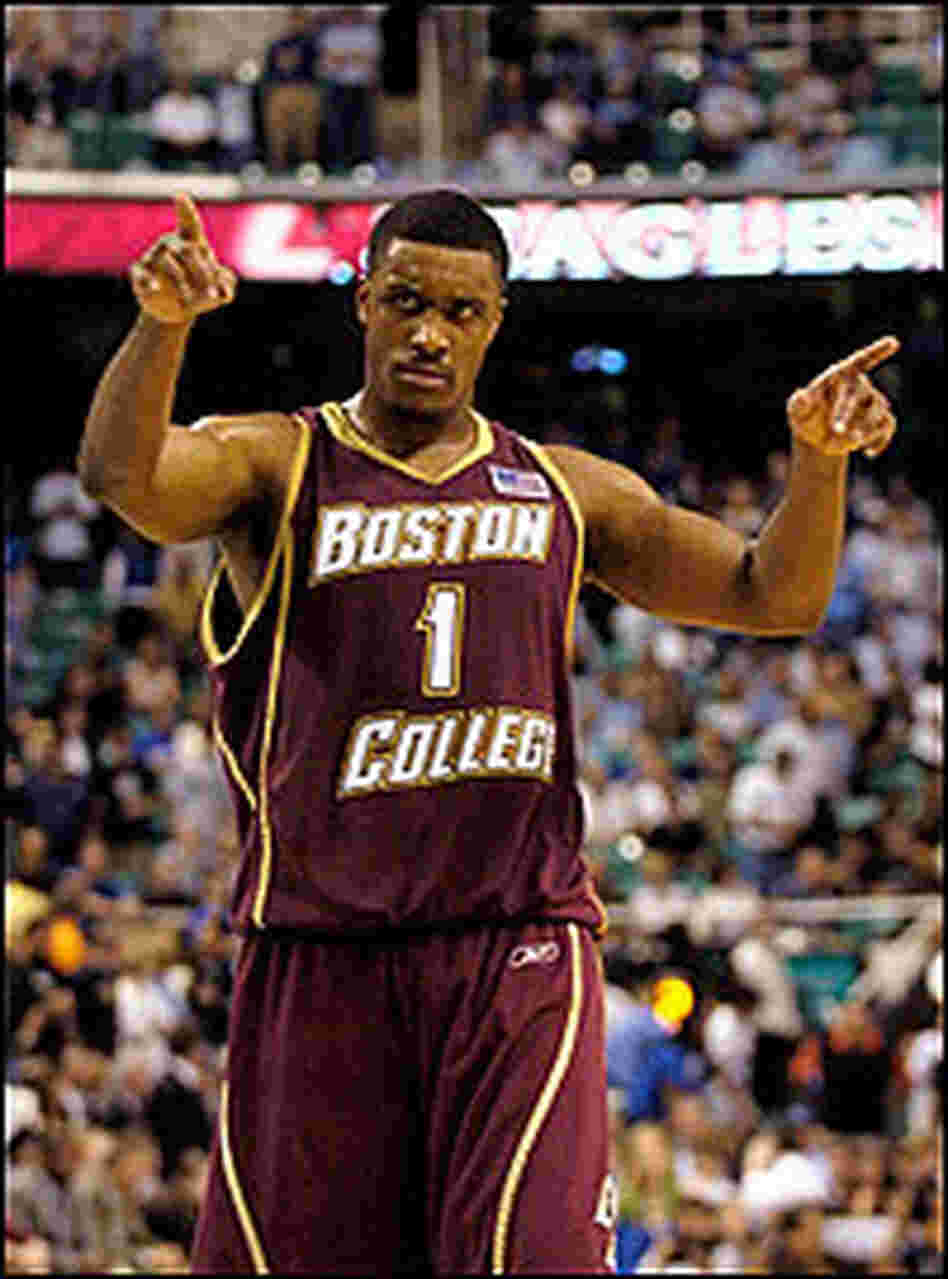 Craig Smith of Boston College looks fierce after a win.