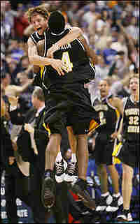 Wichita State University's Matt Braeuer (L) and Ryan Martin celebrate.