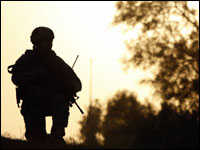 A U.S. soldier on watch in central Baghdad on Nov. 7, 2008.
